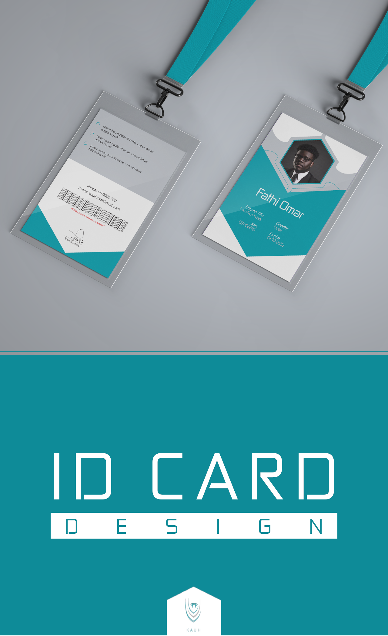 ID Card design template id-card id card photoshop illustrator adobe psd red blue grey employee employer company student school collage university business-card business man woman men women corporate corporation elegant course education work job graphicDesign for King Abdullah Hospital University